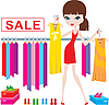 Young woman on clothes and footwear sale