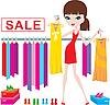 Junge Frau auf Kleidung und Schuhe kaufen