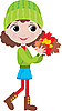 Vector clipart: Little girl with autumn leaves