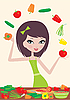 Pretty girl prepares salad and juggles with vegetables | Stock Vector Graphics