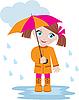 Vector clipart: Little girl under an umbrella