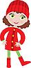 Vector clipart: Little girl in coat