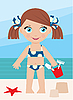 Vector clipart: Little girl on coast with bucket