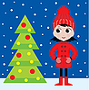 Vector clipart: Little girl and fur-tree