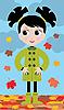 Vector clipart: little girl in the autumn on walk