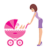 Vector clipart: Mother with carriage