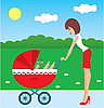 Mother walks with the child in carriage | Stock Vector Graphics