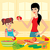 Vector clipart: Mum learns the daughter to prepare