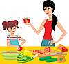 Vector clipart: Mum learns the daughter to prepare.