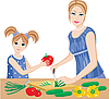 Vector clipart: Daughter helps mum to cut vegetables