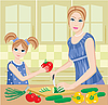 Vector clipart: Daughter helps mum to prepare.