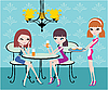 Vector clipart: Friends in cafe and the waitress