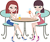 Vector clipart: Two girl friends in cafe