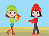 Vector clipart: Little girls play ball
