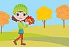 Kleines Mädchen mit Herbstlaub