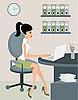 Vector clipart: Secretary at office