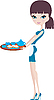 Vector clipart: Young attractive waitress with tray