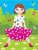 Vector clipart: Happy girl in park