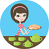 Pretty girl with cookies | Stock Vector Graphics