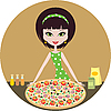 Vector clipart: Girl with pizza