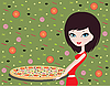 Girl with pizza | Stock Vector Graphics