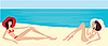 Vector clipart: Two girls on beach
