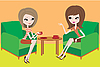 Two young women talk in armchairs | Stock Vector Graphics
