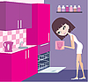 Girl puts plates in the dishwasher | Stock Vector Graphics