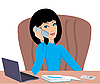 Business woman speaks on the phone | Stock Vector Graphics