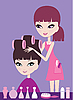 Girl with hair in curlers and the hairdresser | Stock Vector Graphics
