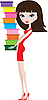 Vector clipart: Young woman with shoe boxes