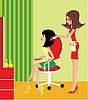 Vector clipart: Woman in beauty salon.