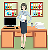 Vector clipart: Businesswoman in office
