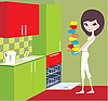 Vector clipart: Girl puts cups in the dishwasher