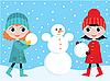 Vector clipart: Little girls build the snowman