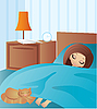 Woman cartoon sleeps | Stock Vector Graphics