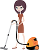 Vector clipart: Pretty girl with vacuum cleaner