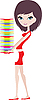 Vector clipart: Girl holds pile of plates