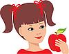 Vector clipart: Little girl with an apple