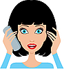 Vector clipart: Young woman is surprised by phone