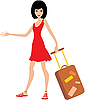 Vector clipart: Woman with suitcase in red dress