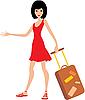Векторный клипарт: Женщина с чемоданом в красном платье