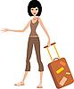 Векторный клипарт: Молодая женщина с чемоданом