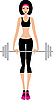 Vector clipart: Woman with weight