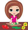 Cartoon woman on kitchen cuts vegetables