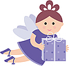 Pretty fairy with gift | Stock Vector Graphics