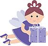 Довольно фея с подарком | Векторный клипарт