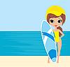 Векторный клипарт: Красивая девушка с доской для серфинга