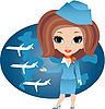 Векторный клипарт: мультяшная стюардесса