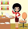 Векторный клипарт: Красивая девушка - бизнес-леди